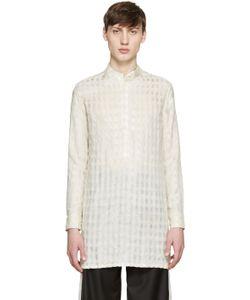 WALES BONNER   Beige Silk Check Amiri Shirt