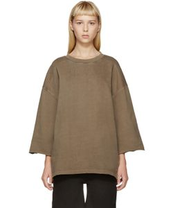 YEEZY SEASON 1   Taupe Cropped-Sleeve Pullover