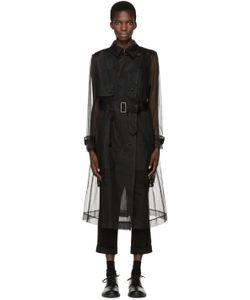 Noir Kei Ninomiya | Black Tulle And Lace Trench Coat