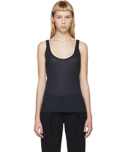 ATEA OCEANIE | Navy Ribbed Jersey Tank Top