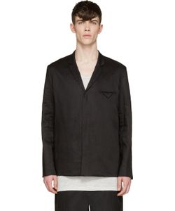 SIKI IM | Black Linen Unstructured Blazer