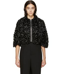 Noir Kei Ninomiya | Black Cropped Modular Padded Flower Jacket