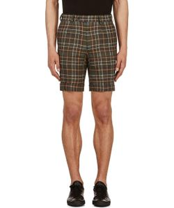 A.Sauvage | Green And Ochre Linen Plaid Shorts