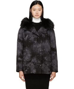 Army by Yves Salomon | Black And Grey Tie-Dye Fur-Lined Parka