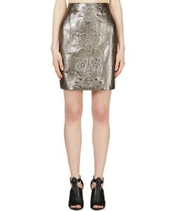 Iris Van Herpen | Pewter Embossed Leather Mini Skirt