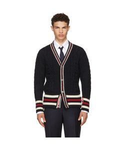 Thom Browne | Aran Cable Cricket Stripe Classic V-Neck Cardigan