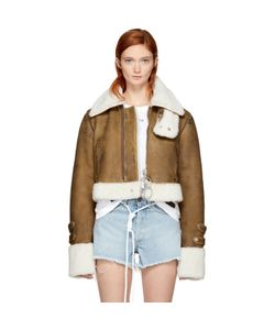 OFF-WHITE | Cropped Shearling Jacket