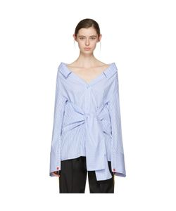 OFF-WHITE   Striped Long Sleeve Off-The-Shoulder Shirt