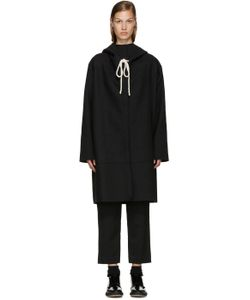 Sara Lanzi | Black Hooded Coat