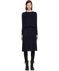 Harikae | Navy Knit Pleated Dress