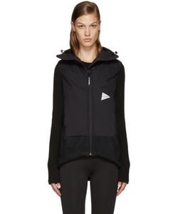 AND WANDER   Black Twill Fleece Vest