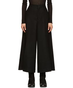 Ys | Black Wool Cropped Trousers