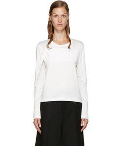 Noir Kei Ninomiya | White Leather Ribbon T-Shirt