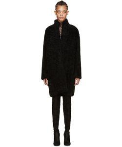 METEO BY YVES SALOMON   Black Shearling Coat