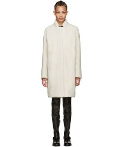 METEO BY YVES SALOMON   Off-White Shearling Coat