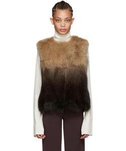 METEO BY YVES SALOMON   Brown Fox Fur Vest