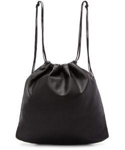 TSATSAS | Black Leather Drawstring Xela Backpack