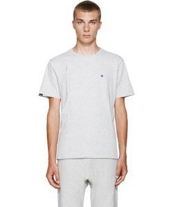 Champion x Beams | Grey Jersey Zip T-Shirt