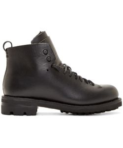 Feit | Black Leather And Wool Hiker Boots