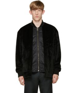 TOGA VIRILIS | Black Faux-Fur Layered Bomber Jacket