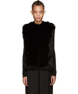 METEO BY YVES SALOMON   Black Fox Fur Vest