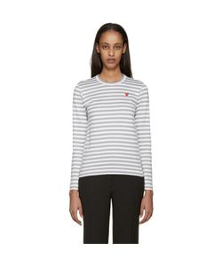 Comme des Gar ons Play | Comme Des Garçons Play White And Striped Heart Patch T-Shirt