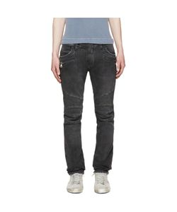 Balmain | Grey Distressed Biker Jeans