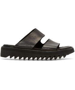 GUIDI | Black Leather Double Strap Sandals