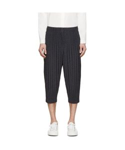 HOMME PLISSE ISSEY MIYAKE | Homme Plissé Issey Miyake Navy Pleated Printed Cropped Trousers