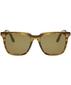 Bottega Veneta | Green Acetate Square Sunglasses