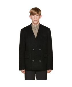 ROBERT GELLER | Black Textured Double-Breasted Blazer