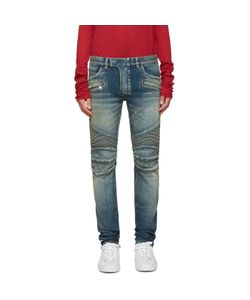 Balmain | Blue Distressed Biker Jeans