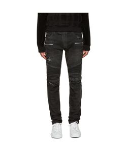 Balmain | Black Distressed Biker Jeans