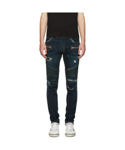 Balmain | Blue Washed Biker Jeans