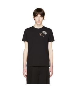 Alexander McQueen | Black Embroidered Floral T-Shirt