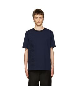 JUUN.J | Navy Embossed Lettering T-Shirt