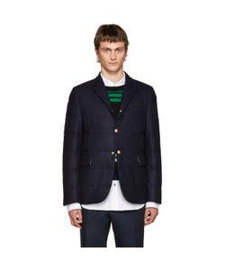 Moncler Gamme Bleu | Blue Wool Quilted Down Blazer