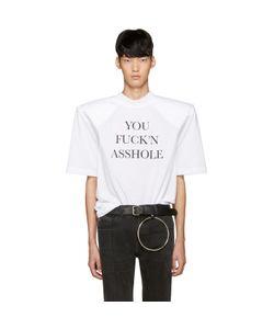 VETEMENTS | White You Fuckn Asshole Football Shoulder T-Shirt