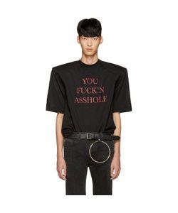 VETEMENTS | Ssense Exclusive Black You Fuckn Asshole Football Shoulder T-Shirt