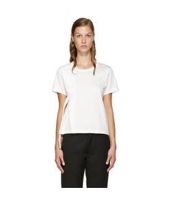 Noir Kei Ninomiya | White Leather Ribbon T-Shirt