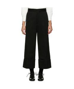 Ys | Black Wide-Leg Chino Trousers