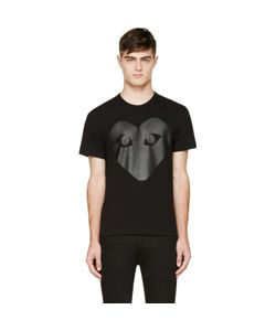 Comme des Gar ons Play | Comme Des Garçons Play Black And Carbon Glossy Heart Logo T-Shirt