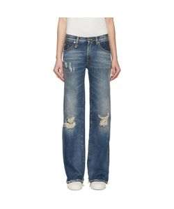 R13 | Blue Faded And Distressed Jane Jeans