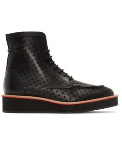 Givenchy   Black Leather Perforated Cross Boots