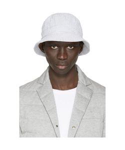 Moncler Gamme Bleu | White And Grey Seersucker Bucket Hat
