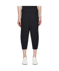 HOMME PLISSE ISSEY MIYAKE | Homme Plissé Issey Miyake Navy Pleated Cropped Lounge Pants