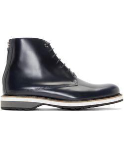 Want Les Essentiels | Navy Leather High-Top Montoro Derbys