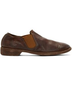 GUIDI | Brown Leather Distressed Loafers
