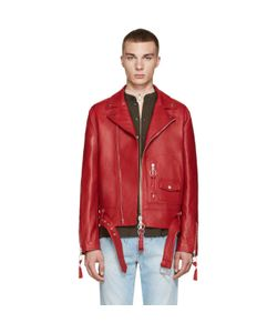 OFF-WHITE | Red Leather New Pocket Jacket