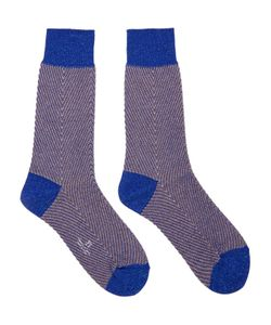 Ys | Blue Metallic Herringbone Socks